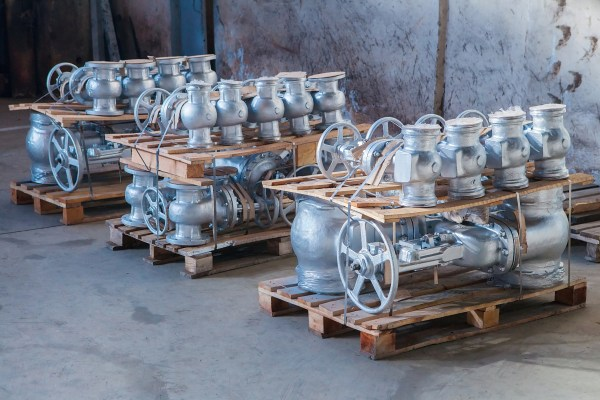 Industrial valves ready for dispatch on Euro palletes