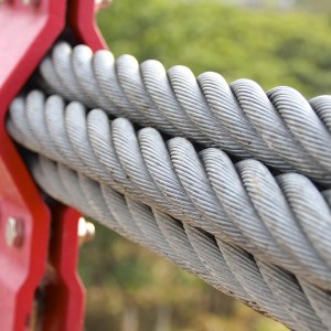 The closeup of bundle cables on suspension bridge