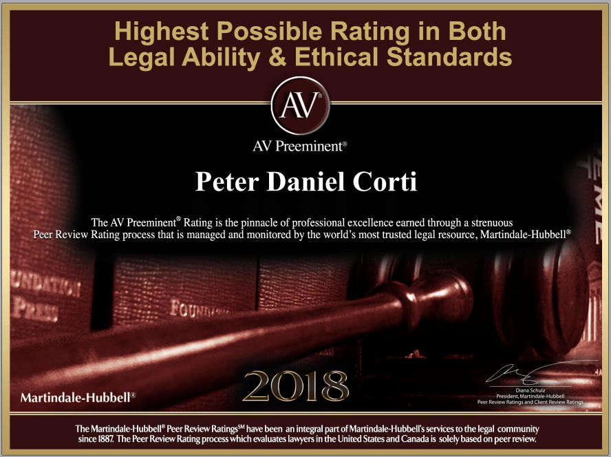 Peter D. Corti - Workers' Compensation Lawyer - AV Preeminent Rating - Martindale-Hubbell - Illinois - Chicago - Attorney Peer Review - Highest Rating in Both Legal Ability & Ethical Standards
