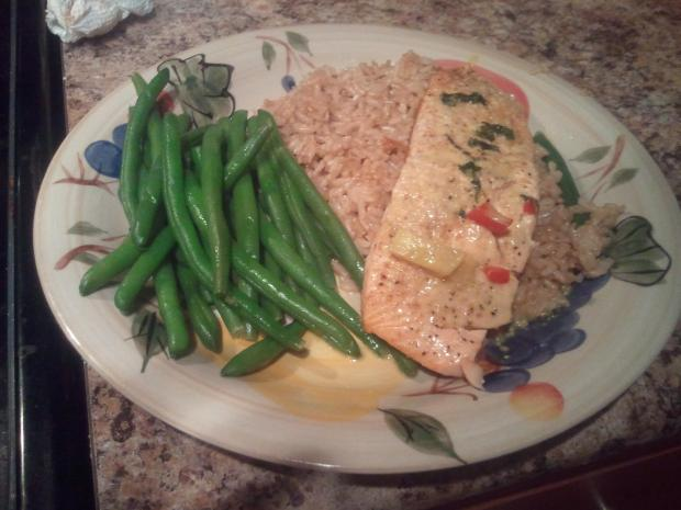Wild Atlantic Salmon with a curried coconut sauce over steamed brown rice and boiled green beans lightly salted