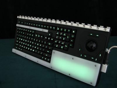 Cortron Model 121 Keyboard T20D  Backlit Rack Mount Enclosure Back Lighted Wrist Rest