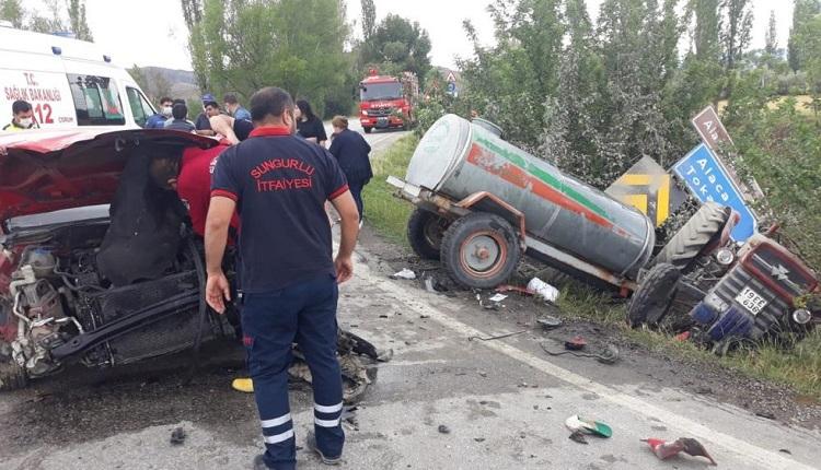 Kazada traktör tarlaya devrildi