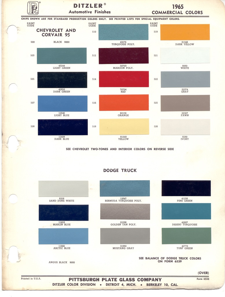 Paintscratch Com 1965 Color Codes