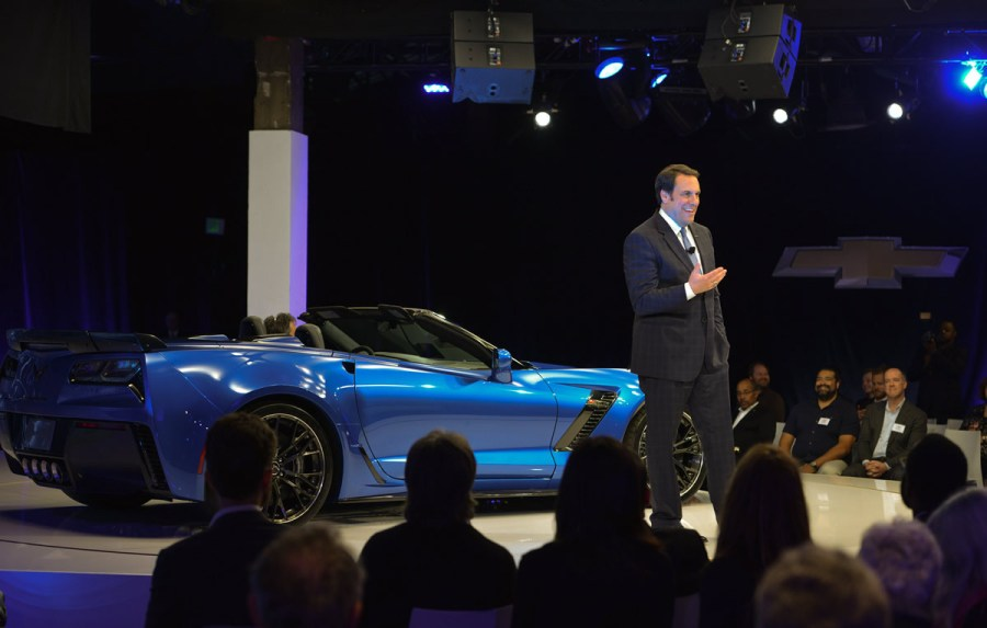 General Motors Product Development Chief Mark Reuss introduces the 2015 Chevrolet Corvette Z06 Convertible Tuesday, April 15, 2014 at a special event in New York City. The all-new, 2015 Corvette Z06 offers at least 625 hp, 0-60 acceleration in under 3.5 seconds, true aerodynamic downforce, and available performance hardware including carbon-ceramic brakes and Michelin Pilot Sport Cup tires. (Photo by Steve Fecht for Chevrolet)