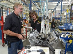 An Engine Builder performing an SIDI Check on a Corvette LT4 engine in the Performance Build Center Wednesday, October 22, 2014 at the plant in Bowling Green, Kentucky. (Photo by Joe Imel for Chevrolet)