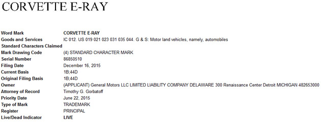 Corvette E-Ray trademark from the United States Patent and Trademark Office.
