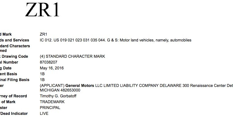 ZR1 Trademark filed by GM