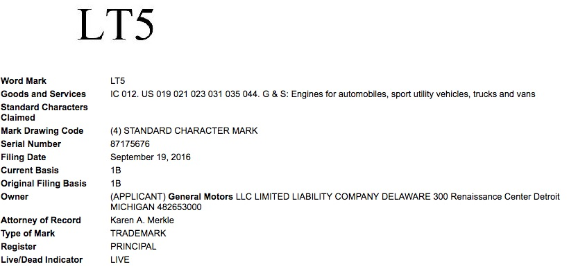 General Motors Re-Files Trademark Application For 'LT5' Engine - C7 Corvette ZR1 is Coming?