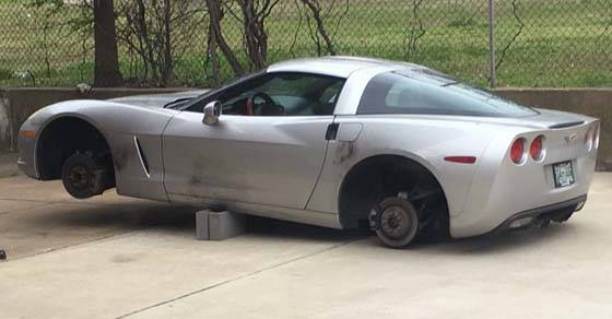 It's sad when a firefighter protecting the community can't park their Corvette at the station without having this happen.