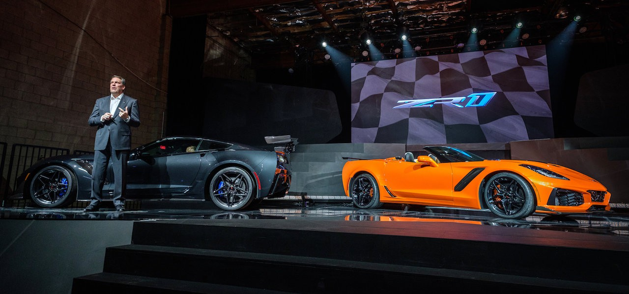 General Motors Executive Vice President Global Product Development Mark Reuss with the 2019 Corvette ZR1 (left) and the 2019 Corvette ZR1 Convertible during the convertible's world debut Tuesday, November 28, 2017 in Los Angeles, California. The Corvette ZR1's unique aero package is central to the coupe's 212-mph top speed generated by the 755 horsepower LT5 6.2L supercharged engine. On sale in the spring of 2018, the ZR1 convertible will start at $123,995. (Photo by Steve Fecht for Chevrolet)