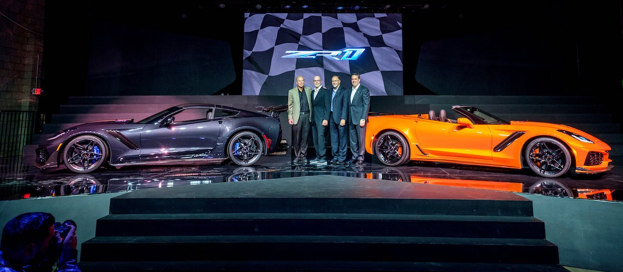 Corvette Executive Chief Engineer Tadge Juechter (l to r), Corvette Design Director Tom Peters, Corvette Design Manager Kirk Bennion and General Motors Executive Vice President Global Product Development Mark Reuss with the 2019 Corvette ZR1 (left) and the 2019 Corvette ZR1 Convertible at the convertible's world debut Tuesday, November 28, 2017 in Los Angeles, California. The Corvette ZR1's unique aero package is central to the coupe's 212-mph top speed generated by the 755 horsepower LT5 6.2L supercharged engine. On sale
