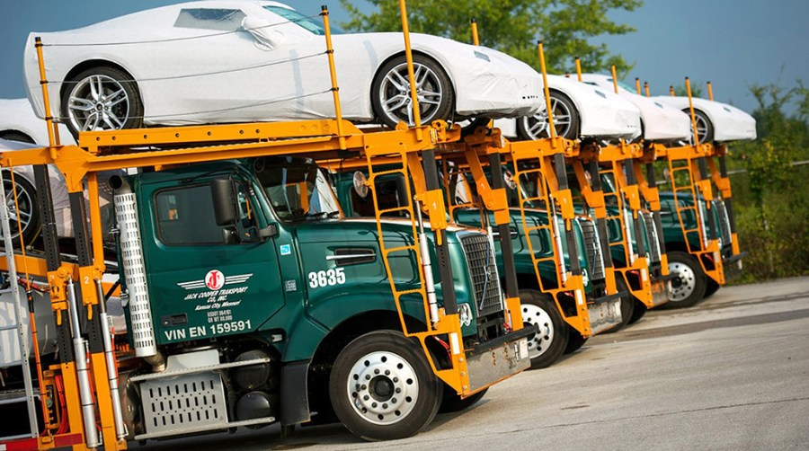 Jack Cooper Transport Company with C7 Corvettes ready for delivery.