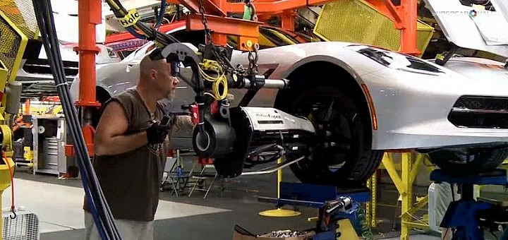 UAW Union Worker attaching a wheel on a C7 Corvette at the Bowling Green Corvette Assembly Plant.