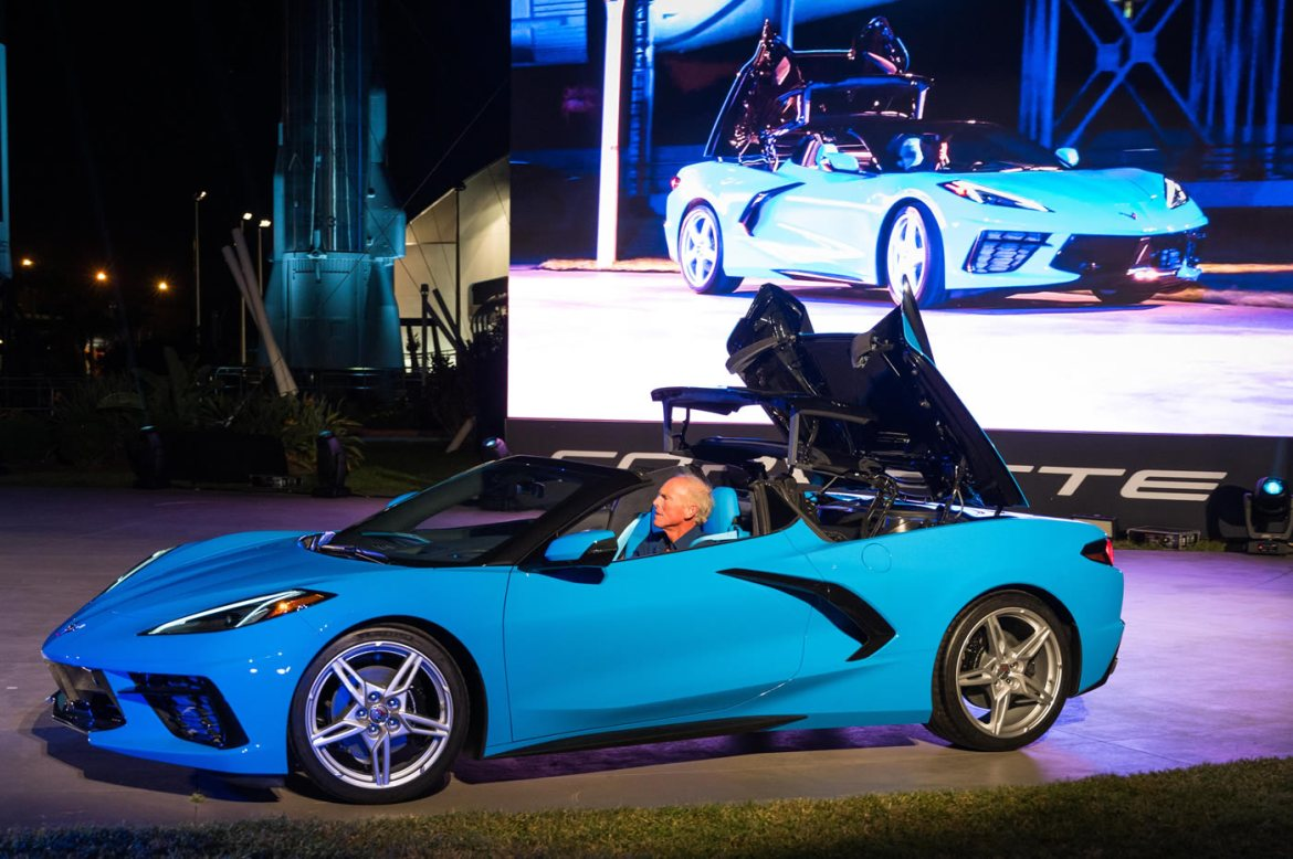 Corvette Executive Chief Engineer Tadge Juechter drives the 2020 Chevrolet Corvette Stingray convertible onto the stage during its debut Wednesday, October 2, 2019 at the Kennedy Space Center in Cape Canaveral, Florida. The Corvette Stingray convertible is the first hardtop and mid-engine convertible in Corvette history. The hardtop convertible offers the same storage as the Corvette Stingray coupe, even with the top down. The convertible will be priced only $7,500 (U.S.) more than the entry 1LT Stingray