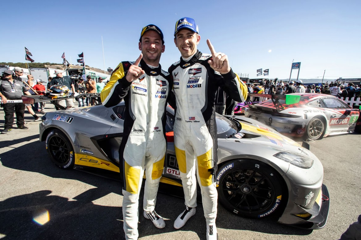 Corvette Racing's Tommy Milner and Nick Tandy took a hard-earned victory in the IMSA WeatherTech SportsCar Championship's GT Le Mans (GTLM) category Sunday