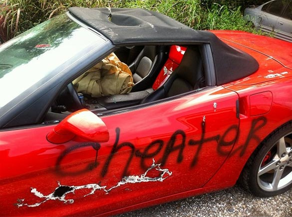 [PIC] A Cheater's Corvette Takes Brunt From Significant Other