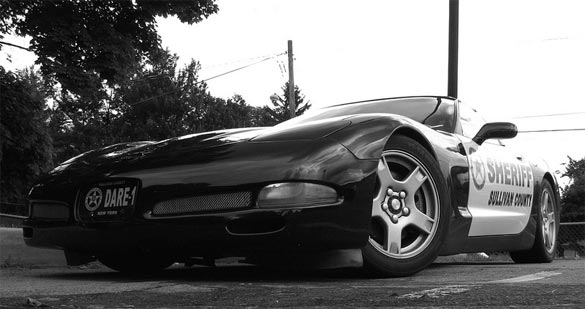 Sullivan County NY's Black and White DARE Corvette