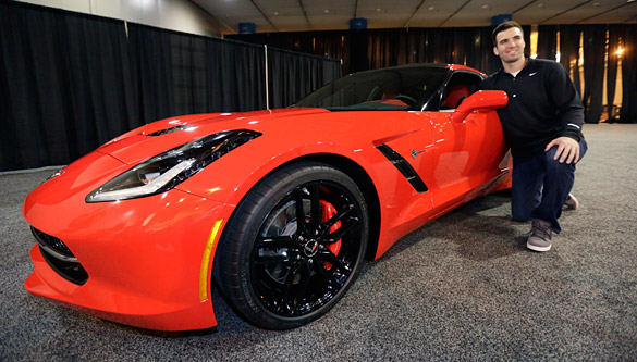 [PIC] Quarterback Joe Flacco Picks Up His Super Bowl MVP C7 Corvette Stingray