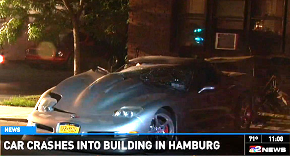 [VIDEO] Driver Flees After Crashing Corvette into an Apartment Building