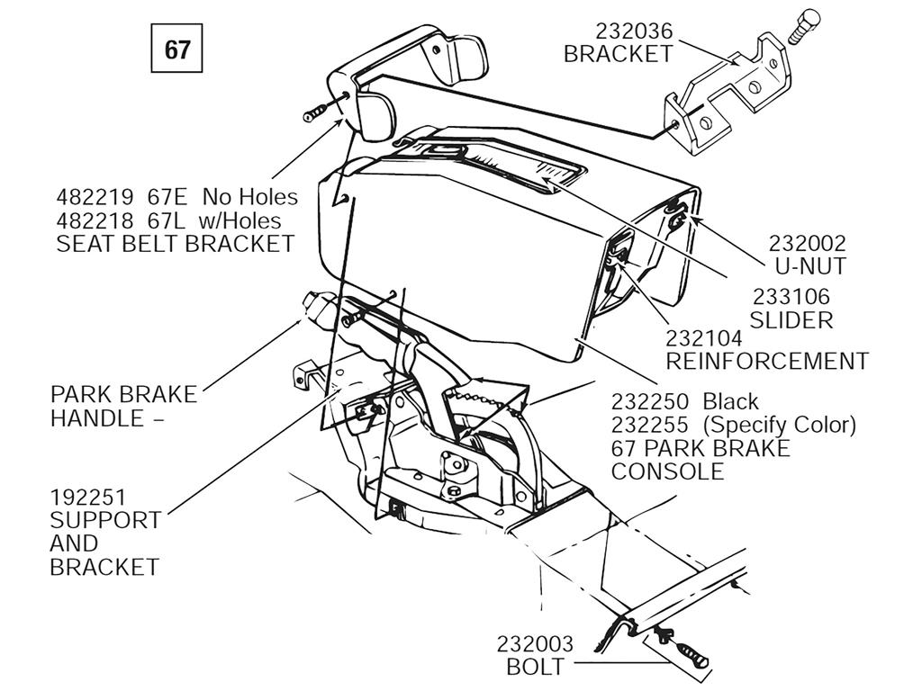 67 Parking Emergency Brake Console Mount