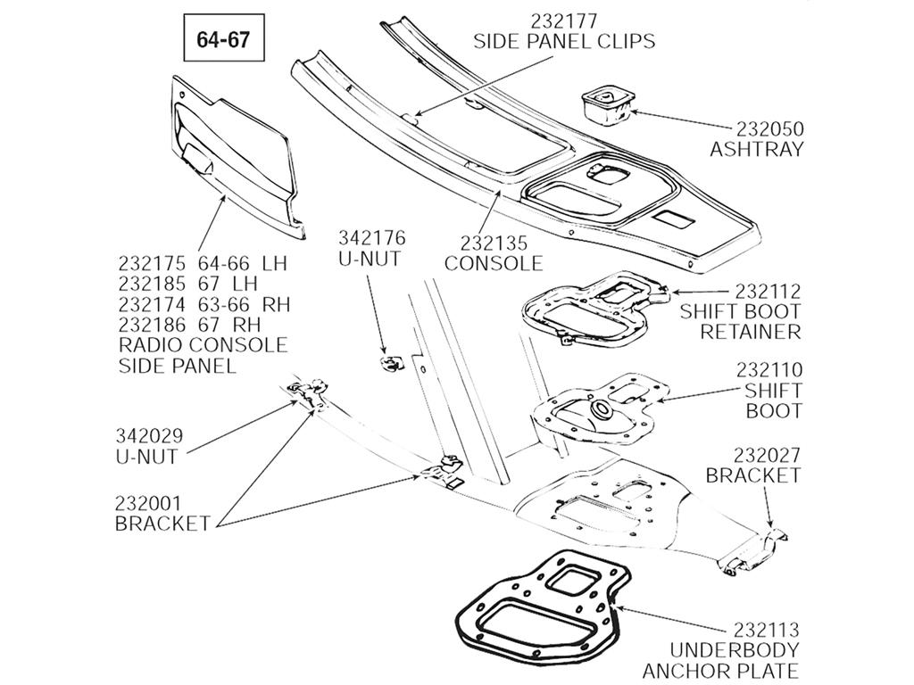64 67 Shifter Boot Nut Plate