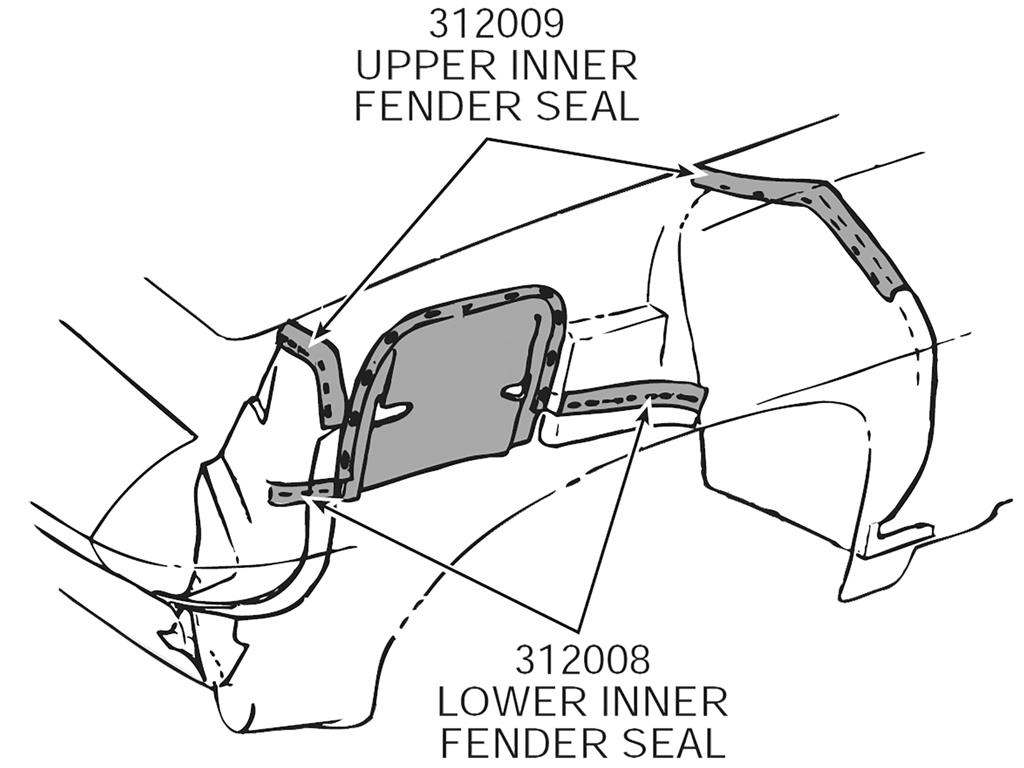 64 67 Inner Fender Skirt Seal Set