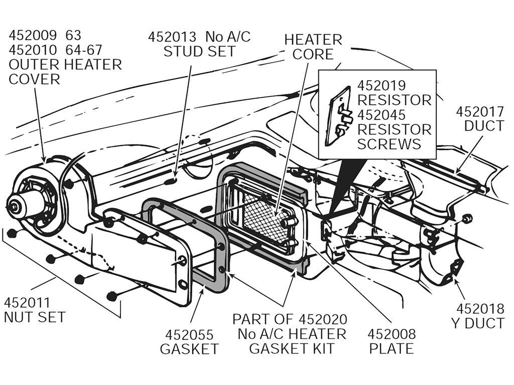 63 67 Heater Box Gasket Set