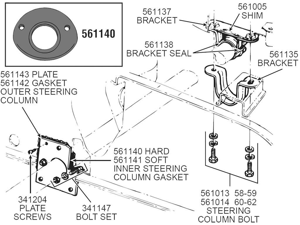 53 62 Steering Column Inner Molded Gasket