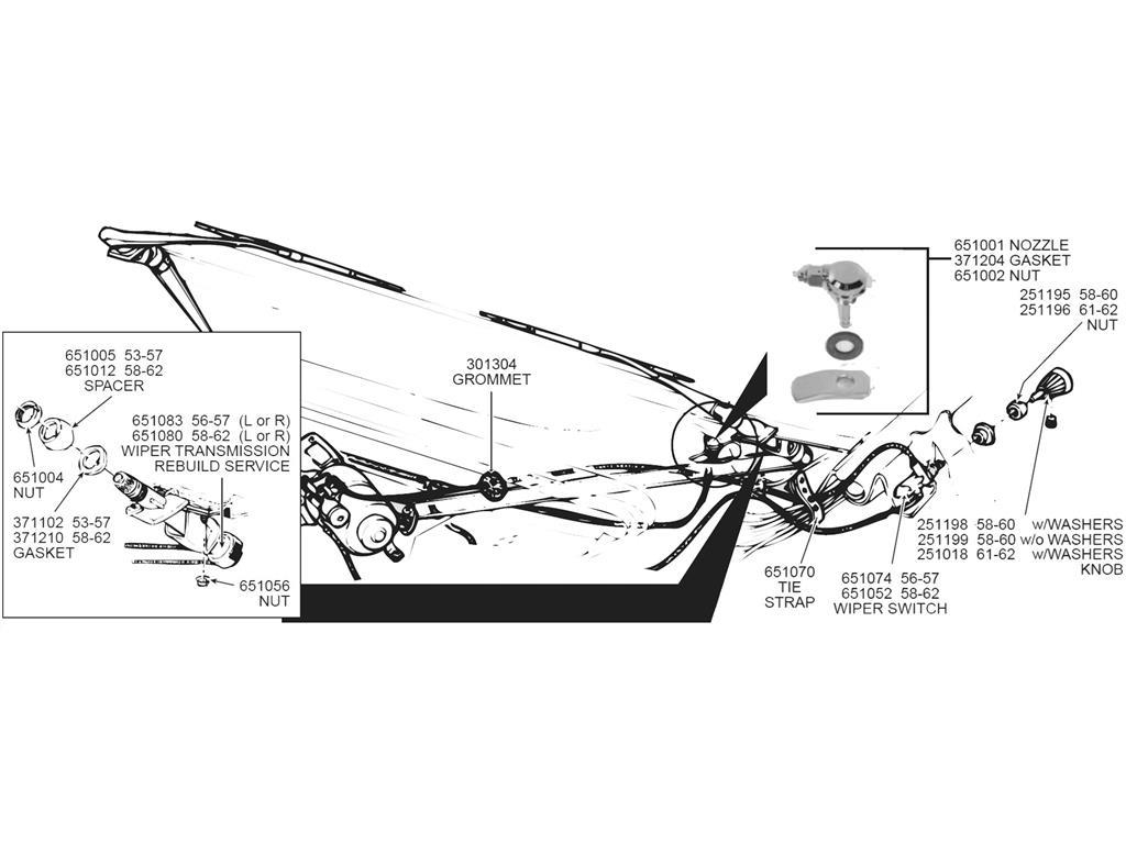 53 62 Windshield Wiper Arm Transmission Bezel Nut