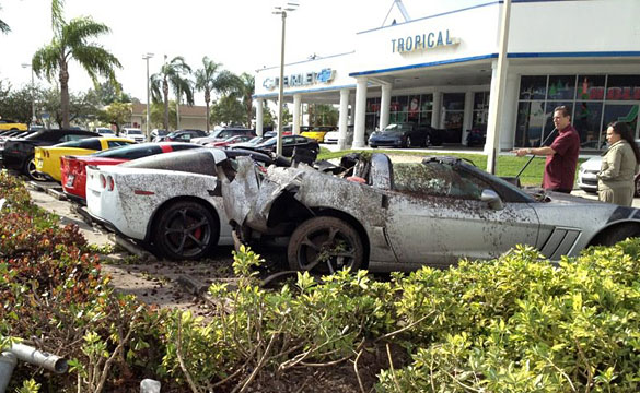 Drunk Driver Crashes Into New Corvettes at a Miami Chevy Dealer