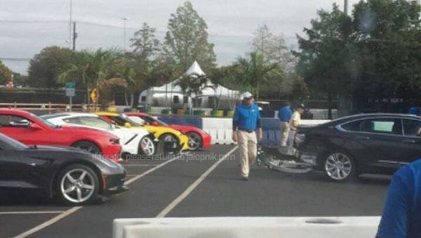 Damaged C7 Corvette Stingrays at the Texas State Fair