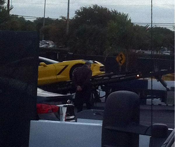 Velocity Yellow C7 Corvette Stingray Damaged at the Texas State Fair