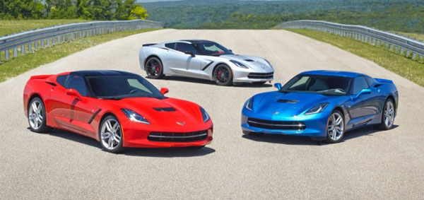 2014 Chevrolet C7 Corvette Stingray in Red, Silver, Blue