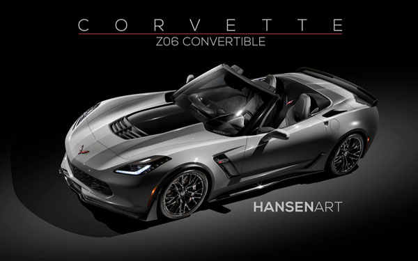 Chevrolet Corvette Z06 Convertible Rendering Home Tiger Shark Gray