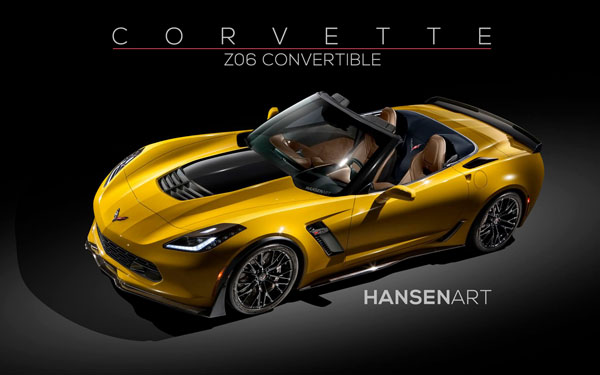 Chevrolet Corvette Z06 Convertible Rendering Home Yellow
