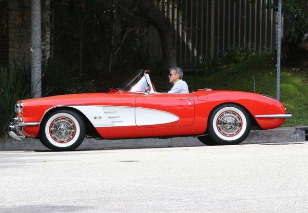 George Clooney Driving his 1958 C1 Chevrolet Corvette
