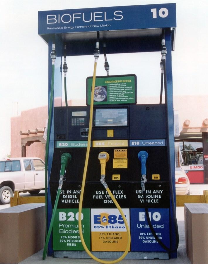 Triple biofuels dispenser at Baca Street Biofuels Stations