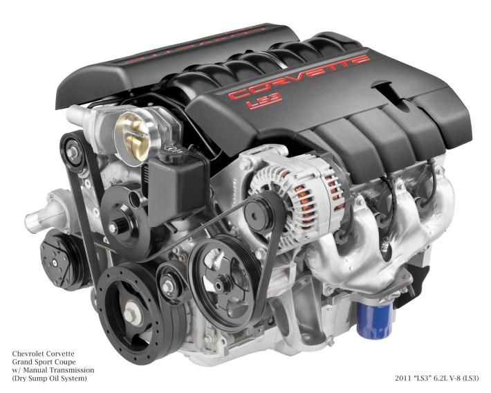 "2011 ""LS3"" 6.2L V-8 (LS3) for Chevrolet Corvette Grand Sport Coupe w/Manual Transmission (Dry Sump Oil System)."
