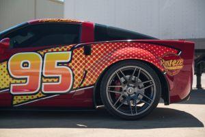 A rear quarter view of the Lightning mcQueen Corvette.