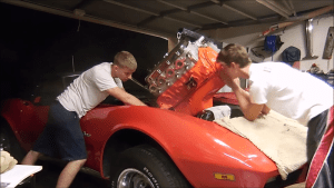 YouTuber TheCorvetteBen with his 1973 convertible.