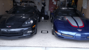 YouTuber Froggy's 2004 and 2013 Corvette Z06s.