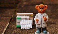 Meds and teddy bear