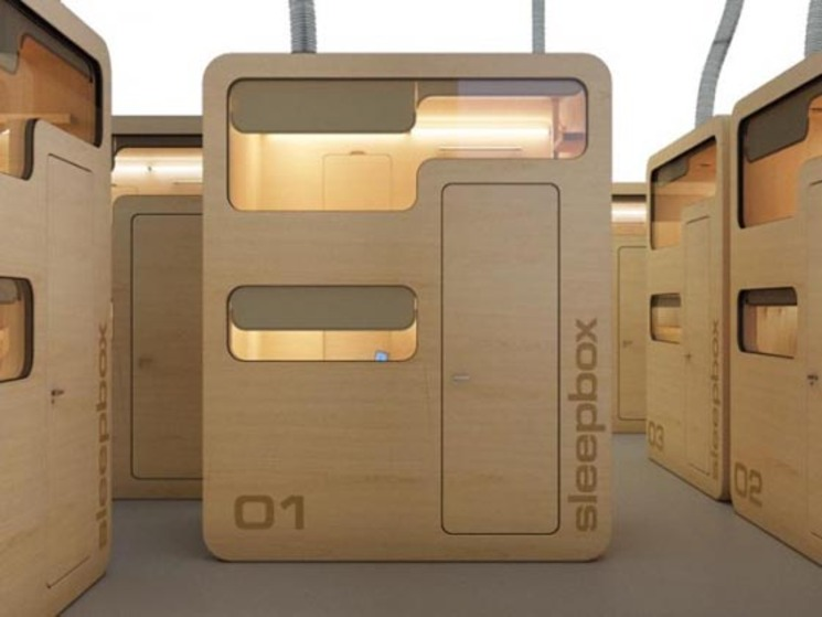 Pequeña habitación en una caja para aeropuertos y estaciones – Sleepbox