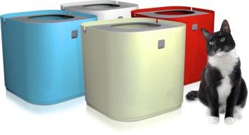 Bandeja sanitaria de diseño diferente: cajas altas de colores