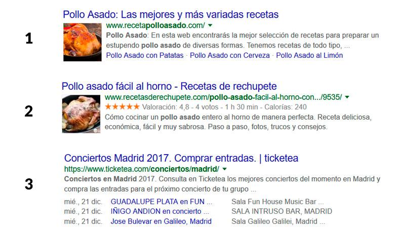 Ejemplos de resultados enriquecidos de Google