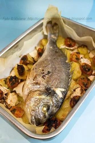 """L'orata al forno con patate e pomodorini per dimostrare che """"U pisci ru Mari è destinatu cu si l'avi a manciari""""!!"""