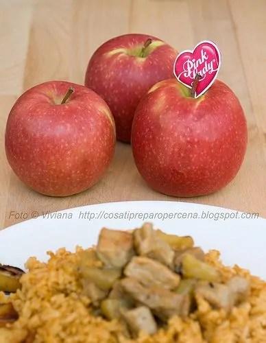 riso e maiale con le mele