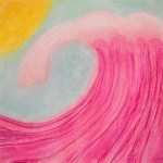 Painting of pink ocean and yellow sun
