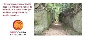 """Bed & Breakfast – Donna Etrusca, situato a Sutri (VT) - all'interno del comprensorio di Colle Diana, così denominato perché qui sorgevano i resti di un tempio dedicato a Diana. Il BB immerso nel bosco, dove la pace e la tranquillità fanno da padrone, è il posto ideale per meditare e riequilibrare le proprie energie, ed Irene la padrona di casa, istruttrice """"Tecniche dell'Unione e del Risveglio"""", può aiutarvi e guidarvi in questo percorso. Può inoltre organizzarvi percorsi """"insoliti"""", e guidarvi nei luoghi più magici dell'Etruria. E' possibile gustare i piatti tipici dell'Etruria utilizzando prodotti degli orti biologici della zona. *Per gli associati I.R.C. verrà applicata una tariffa speciale."""