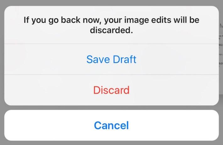 saving draft or discard